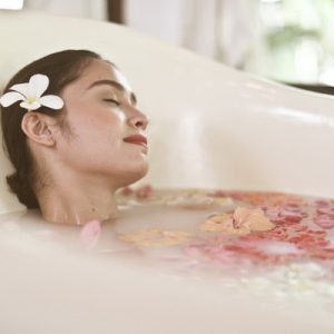woman bathing in mandala spa