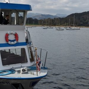 a view of a boat docked in Lake Windermere