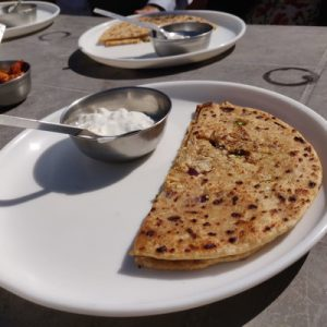 pita bread dish in indian cooking class