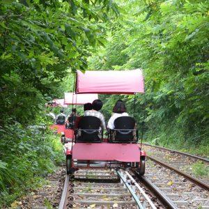 江村铁道自行车体验,京江火车站自行车,韩国四人铁道自行车