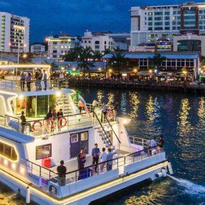 沙巴日落晚餐游船之旅,沙巴城市夜景晚餐游船之旅